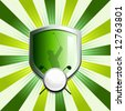 Glossy golf shield emblem on green starburst background - stock vector