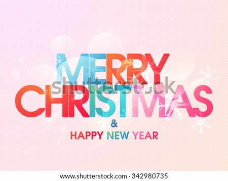 Glossy greeting card design for Merry Christmas and Happy New Year celebration. - stock vector