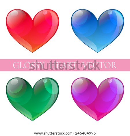 Glossy heart in red,green,blue and violet color for multi-purpose use - stock vector