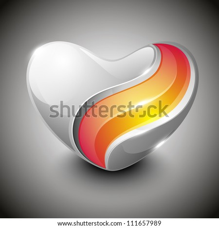 Glossy heart shapes design  isolated on grey background. EPS 10, can be use as label, sticker, tag, button and icon. - stock vector