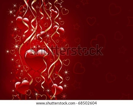 Glossy hearts on a background of ribbons and stars