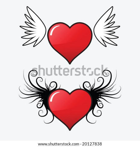 Glossy hearts with wings - stock vector