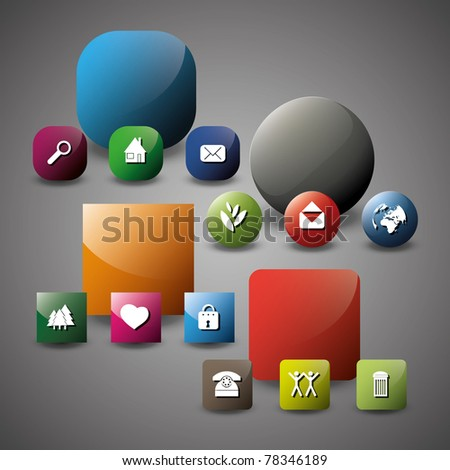 Glossy Icon Set for Web Applications - stock vector