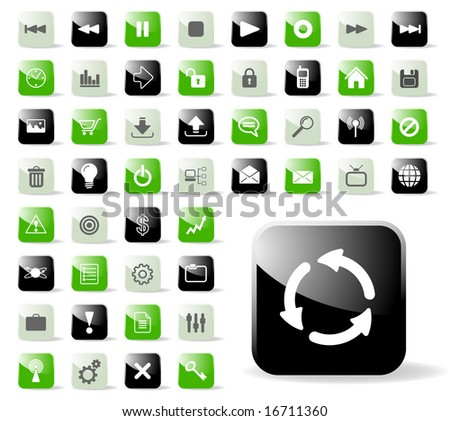 Glossy Icon Set for Web Applications - Vector - stock vector