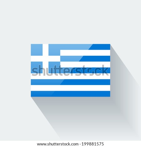 Glossy icon with national flag of Greece. Correct proportions and color scheme. - stock vector