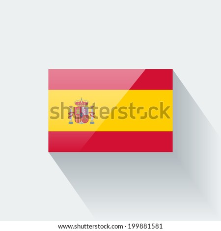 Glossy icon with national flag of Spain isolated on white background  - stock vector