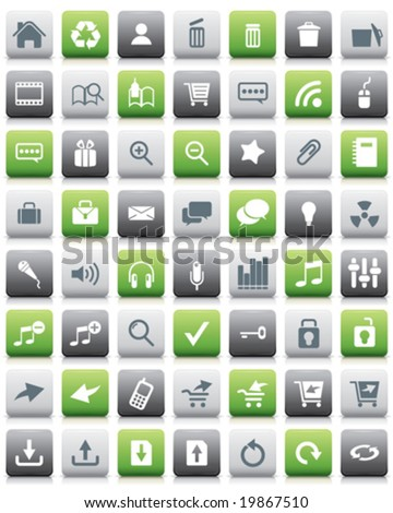 Glossy internet and web icons - stock vector