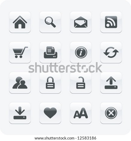 Glossy Internet / Web icons | White series - stock vector