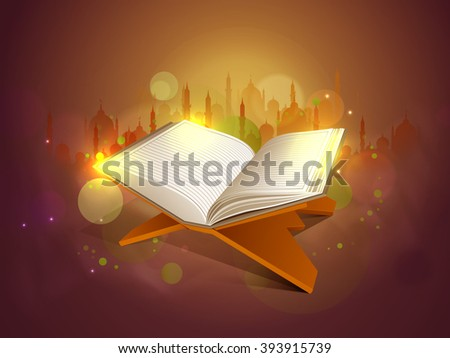 Glossy Islamic Religious Book Quran Shareef on Mosque silhouetted shiny background for Muslim Community Festival celebration. - stock vector