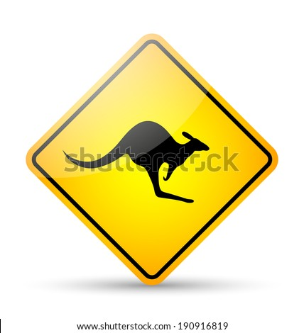 Glossy kangaroo road sign in yellow and black style on white background