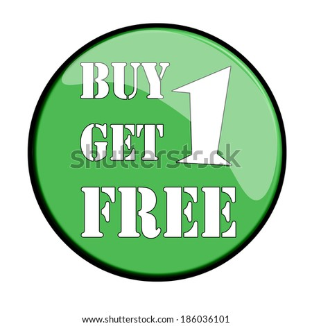 Glossy label buy one get one free, vector illustration