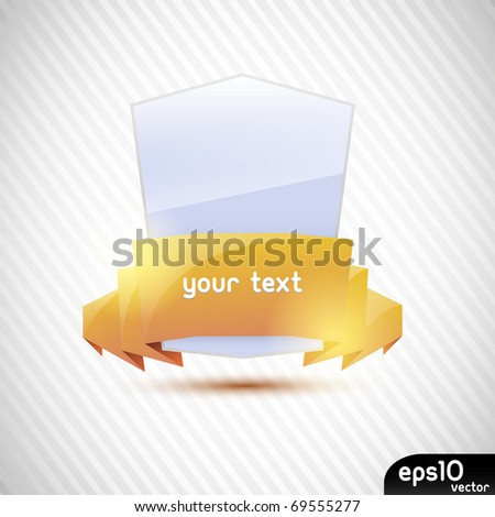 Glossy label with gold ribbon - stock vector