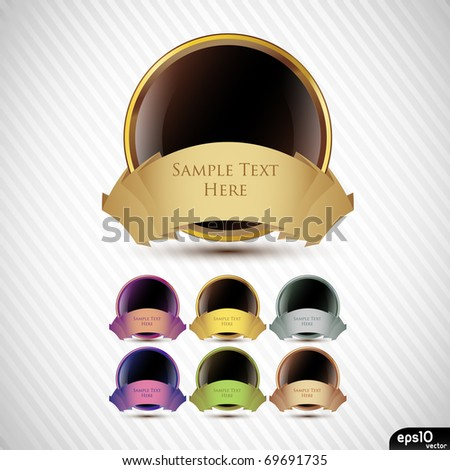 Glossy label with ribbons - stock vector
