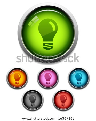 Glossy lightbulb button icon set in 6 colors - stock vector