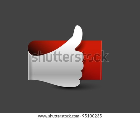 glossy Like/thumbs up symbol design - stock vector