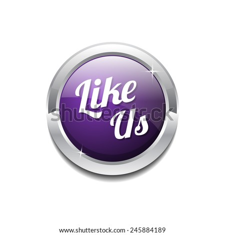 Glossy Like Us Vector Icon Button - stock vector