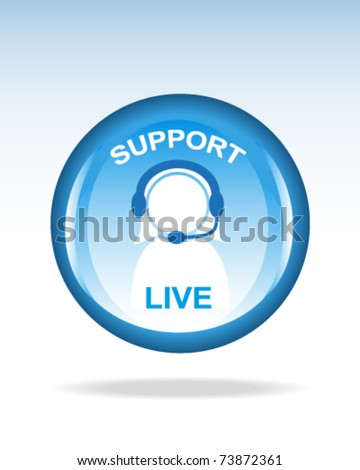 glossy live support button or icon - stock vector