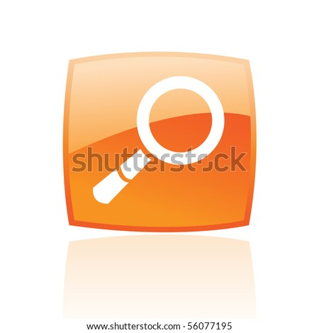 Glossy magnifier in orange button isolated on white - stock vector