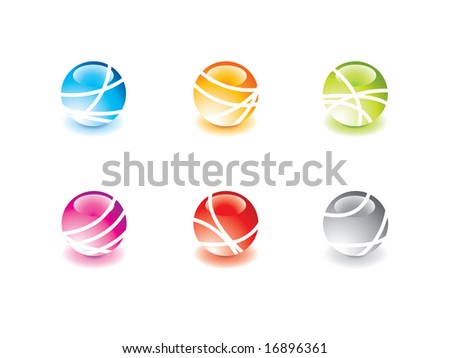 Glossy marbles - stock vector