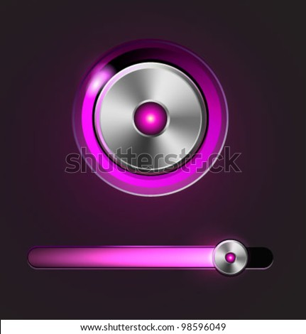 Glossy media player metal button with track bar. Vector illustration - stock vector
