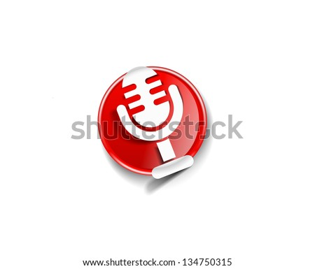 glossy mic icon, isolated on colorful background. - stock vector