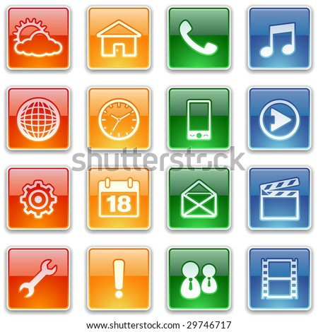 glossy mobile icons set - stock vector