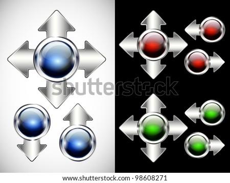 Glossy modern  button. Web navigation. Vector. Part of set. - stock vector
