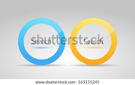 Glossy modern search icons - stock vector