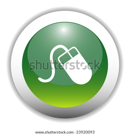 Glossy Mouse Sign Icon Button - stock vector