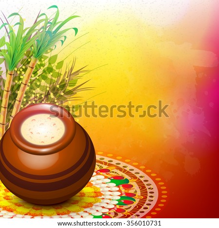 Glossy mud pot, full of rice with sugarcanes on colourful rangoli for South Indian harvesting festival, Happy Pongal celebration. - stock vector