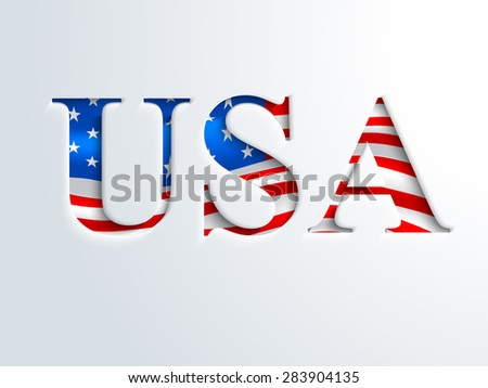 Glossy national flag color nation USA on shiny sky blue background for 4th of July, American Independence Day celebration - stock vector