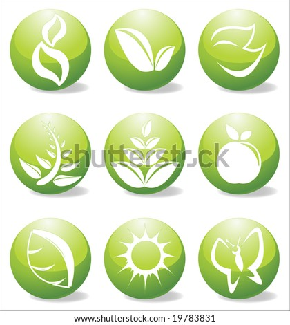 Glossy nature elements vector illustration - stock vector