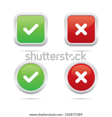 Glossy Ok and Cancel Buttons - stock vector