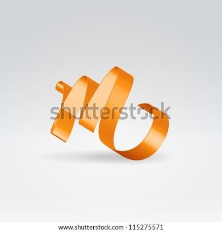 Glossy orange ribbon decorative silk lowercase m letter - stock vector