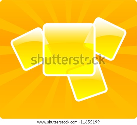 Glossy orange vector frames composition - stock vector