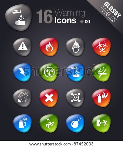 Glossy Pebbles - Warning icons - stock vector