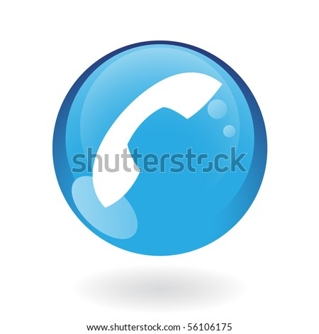 Glossy phone in blue button isolated on white - stock vector