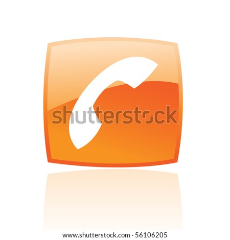 Glossy phone in orange button isolated on white - stock vector