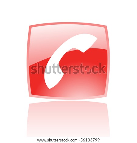 Glossy phone in red button isolated on white - stock vector