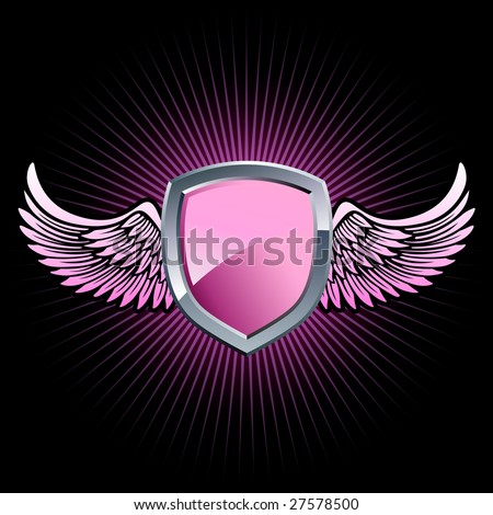 Glossy pink and silver shield emblem with background wings - stock vector