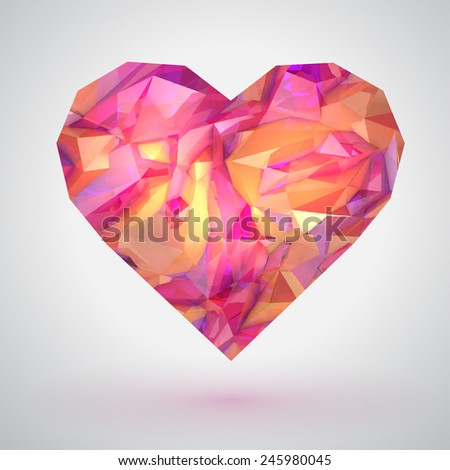 Glossy pink heart on pink background, vector illustration. Valentine's symbol.