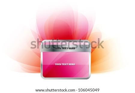 Glossy pink vector badge - stock vector