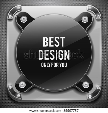 Glossy plate with metal shield on metal grid(vector illustration) - stock vector