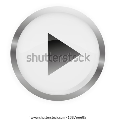 Glossy Play Button Gray,Vector illustration. - stock vector