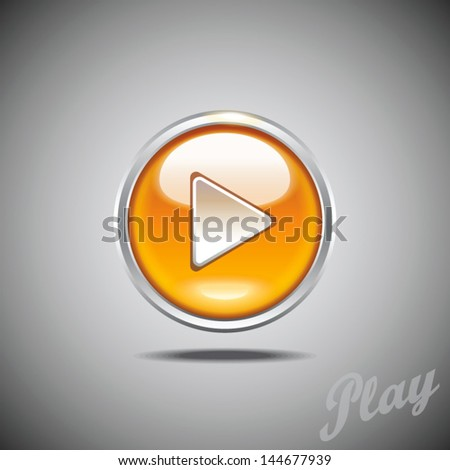 Glossy play button icon with chrome border. Vector image for mobile apps and web design. - stock vector