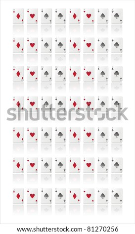 glossy playing cards isolated on white - stock vector