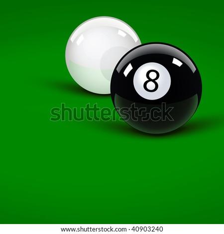 Glossy pool balls on the green velvet - stock vector