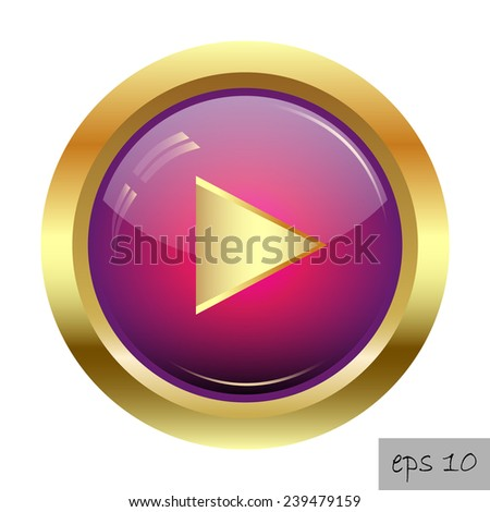 Glossy purple play button icon  - stock vector