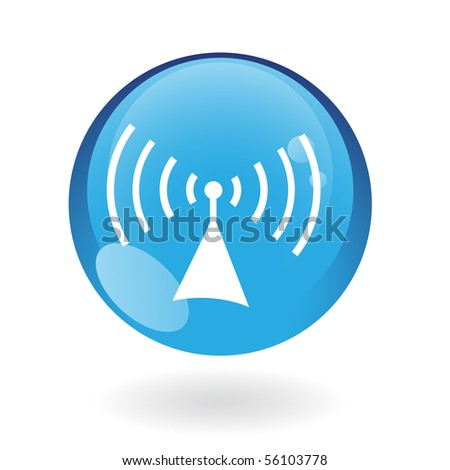 Glossy radio in blue button isolated on white
