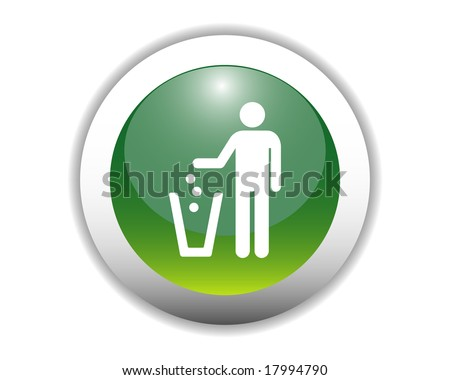 Glossy Recycling Icon Button - stock vector